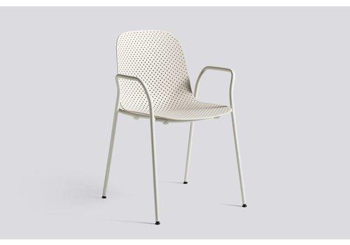 HAY 13eighty armchair - grey white steel base - chalk white shell