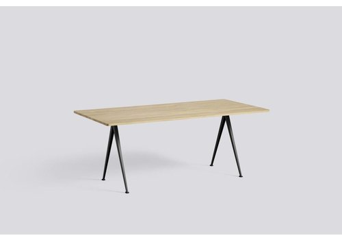 HAY Pyramid Table 02 - Smoked Oil Oak - Beige frame - 190 x 85