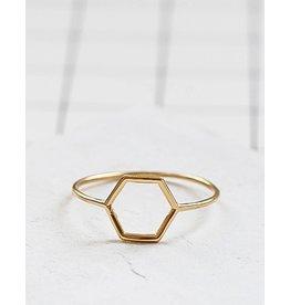 Shlomit Ofir Hollow Hexagon Ring - Gold