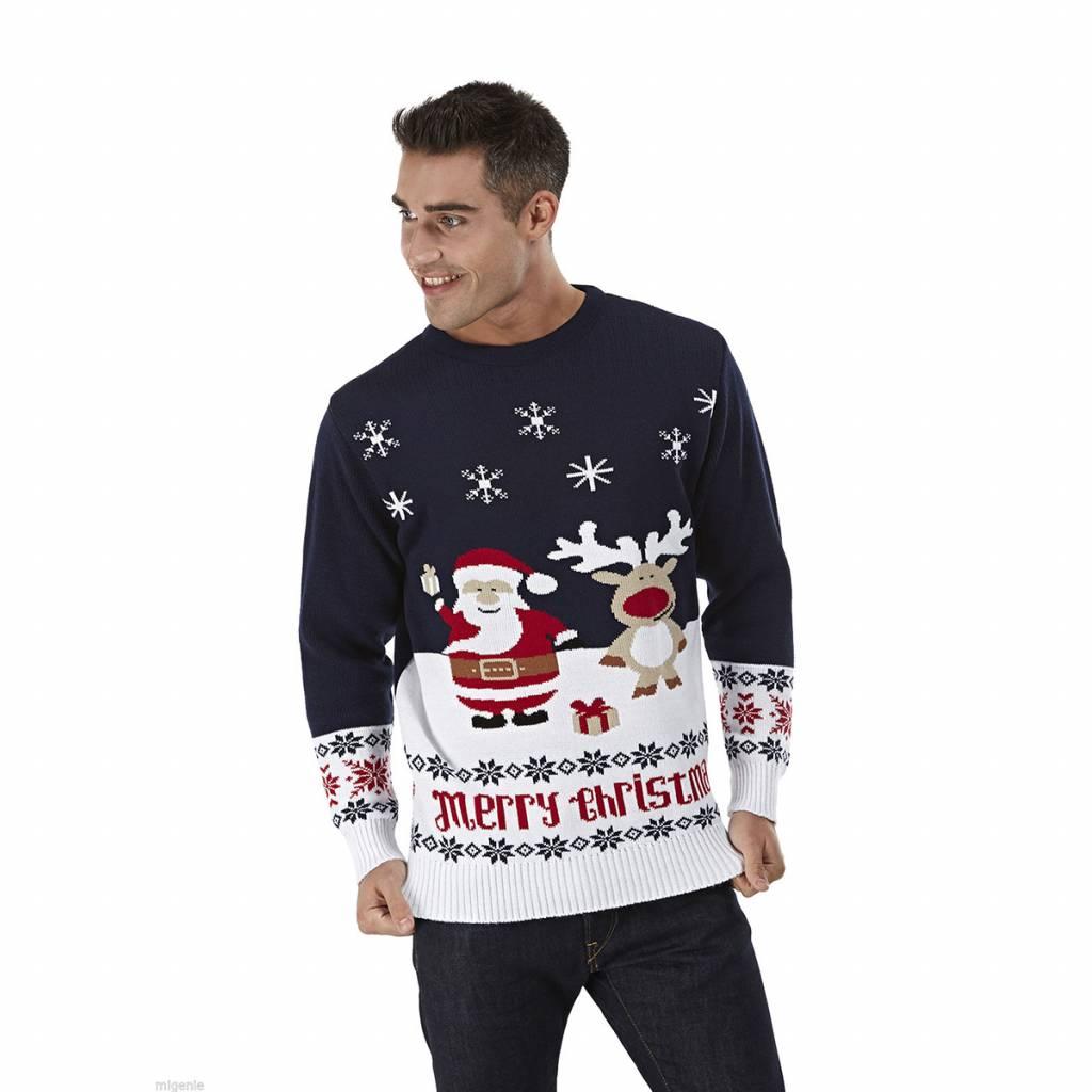 Weihnachtspulli Geschenken Dunkelblau Santa Claus
