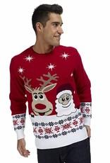 Weihnachtspulli Rudolph und Santa Rot Herren