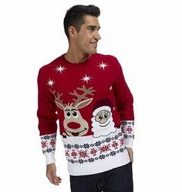 Weihnachtspulli Rudolph und Santa Rot