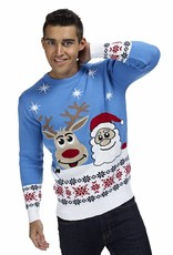 Weihnachtspulli Rudolph und Santa Blau Herren