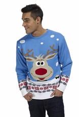 Weihnachtspulli Rudolph Blau Herren