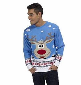 Weihnachtspulli Rudolph Blau