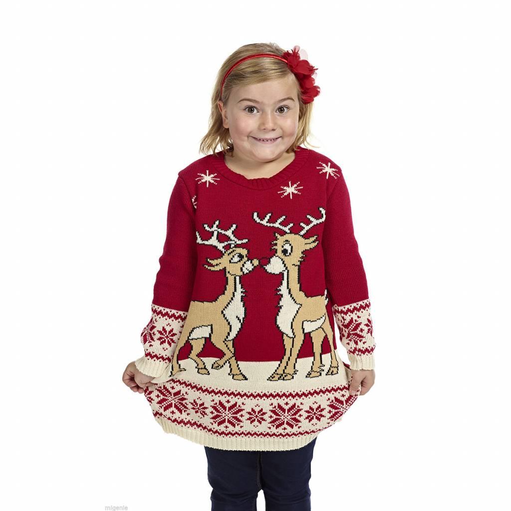Weihnachtspulli Kleid mit Rentier Mädchen