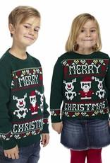 Weihnachtspuli Kinder Grün Merry Christmas