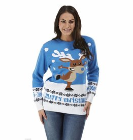Weihnachtspullover Rudolph On Ice Blau