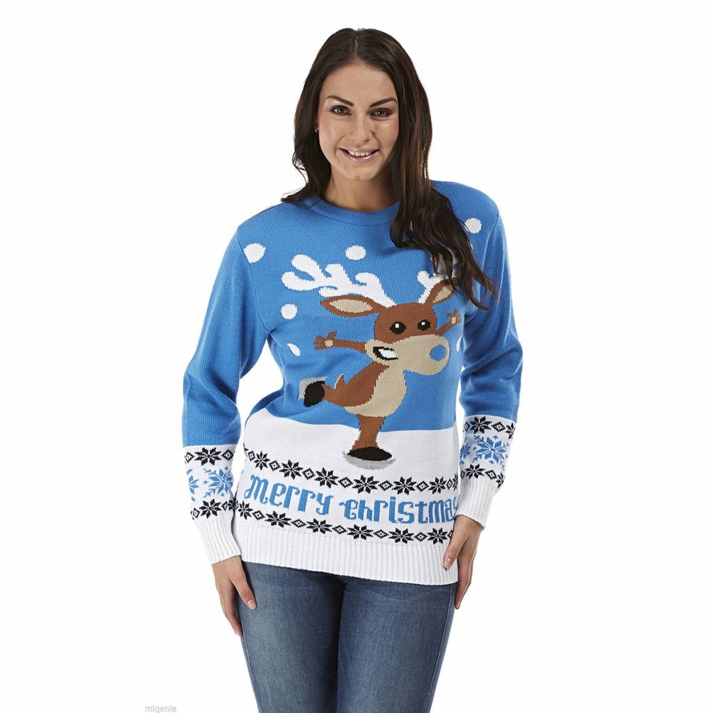 Weihnachtspullover Rudolph On Ice Blau Damen