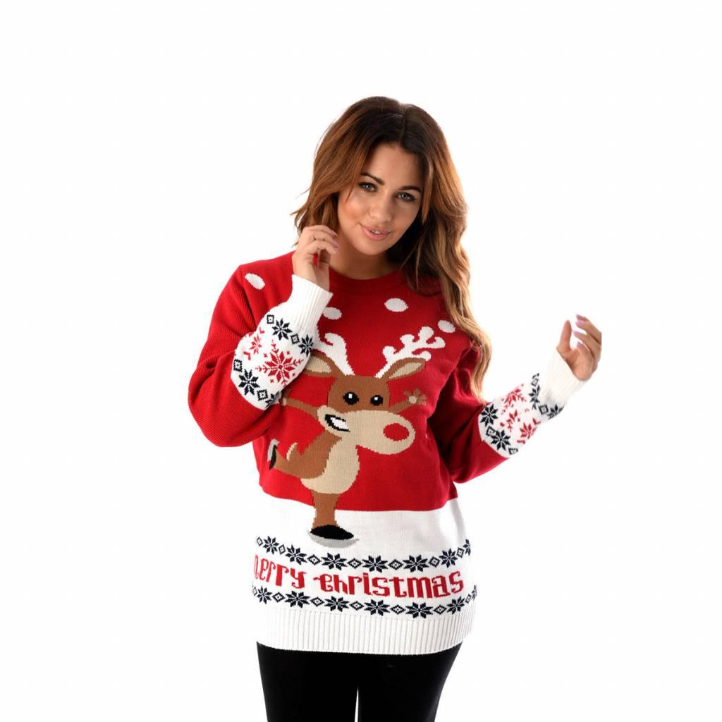 Weihnachtspullover Rudolph On Ice Rot Damen