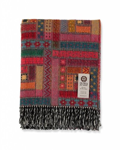"So Cosy Plaid 100% Merino wol ""Patchwork"" Rood"