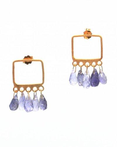 Tonia Makri Oorbellen met violet edelstenen