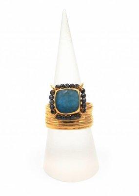Tonia Makri Ring met blauwe en rode edelstenen