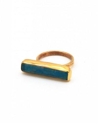 Tonia Makri Ring zilver verguld met blauwe chrysocolla en quartz edelstenen