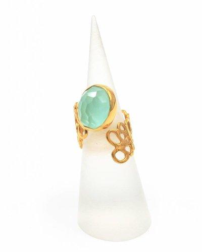 Tonia Makri Ring met lichtgroene edelsteen