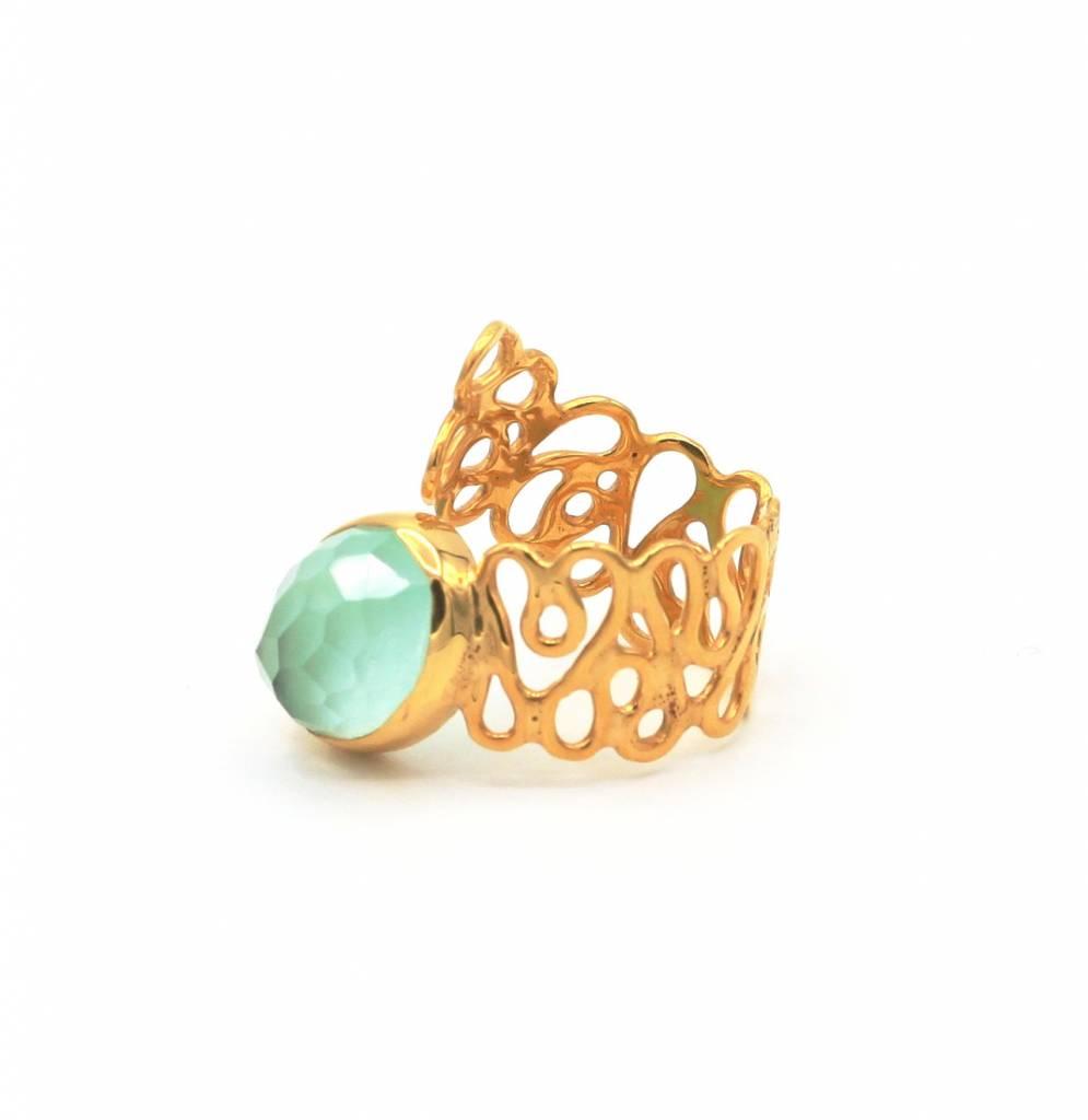 Bekend Ring met lichtgroene edelsteen - Blauw Diest - Juwelen Blauw Diest #EU22