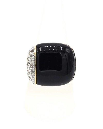 Ring met zwarte steen en Swarovski kristallen