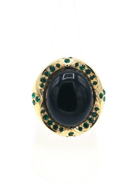 Ring met groene steen en Swarovski kristallen
