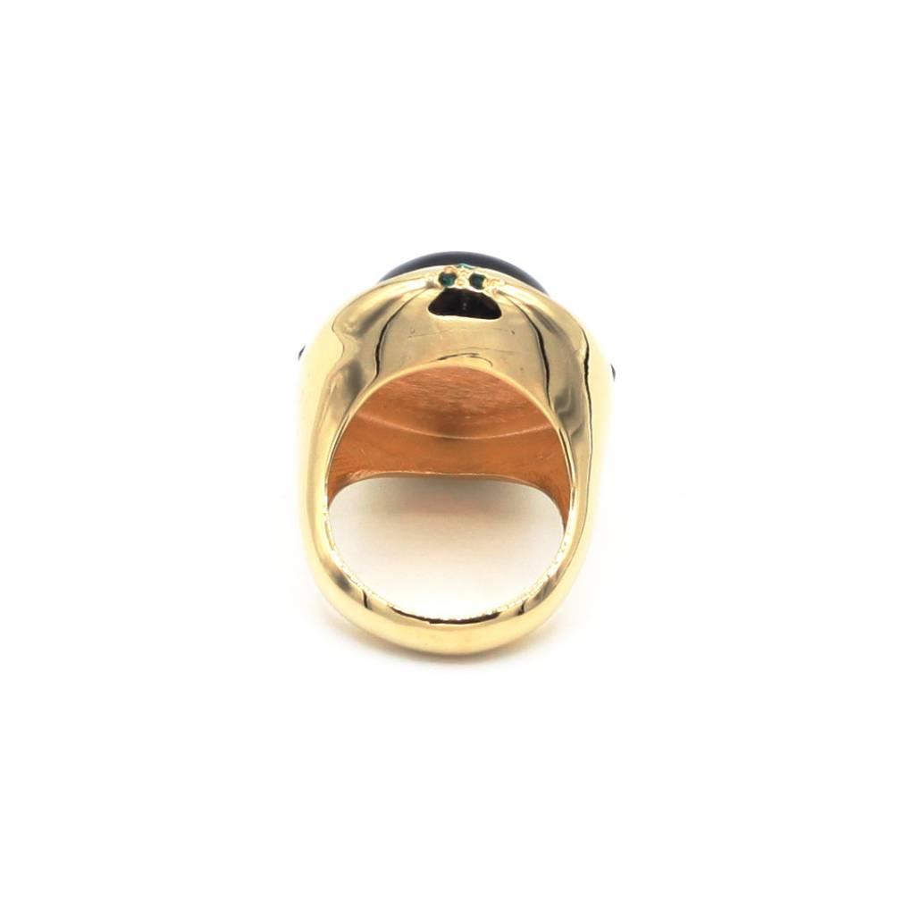 Genoeg Ring met groene steen en Swarovski kristallen - Blauw Diest  @VW97