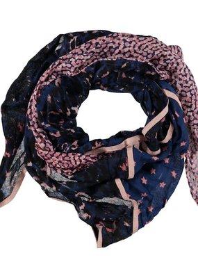 Sjaal triangel donkerblauw met roze motieven
