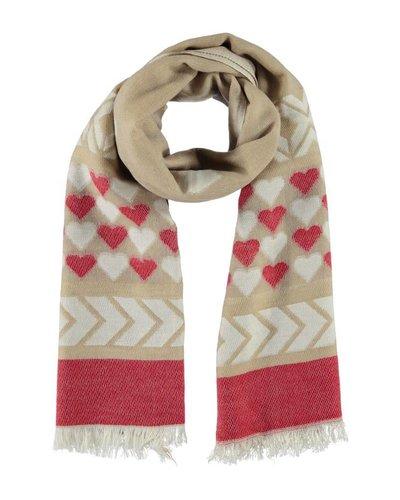 Sjaal beige/rood met hartjes