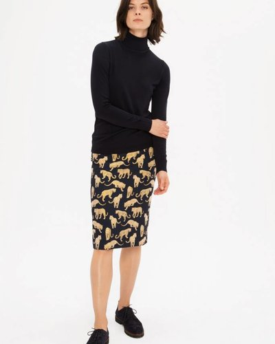 Zenggi Panther Jacquard Pencil Skirt