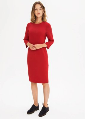 Zenggi Fitted Crepe Dress Warm Red