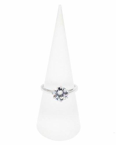 Ring zilver met Zirkonia solitaire