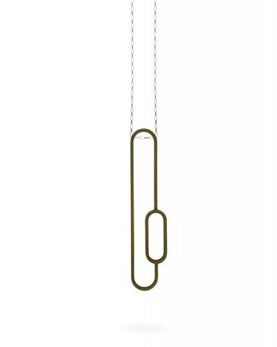 Ola Halsketting met olijfgroene hanger ovalen