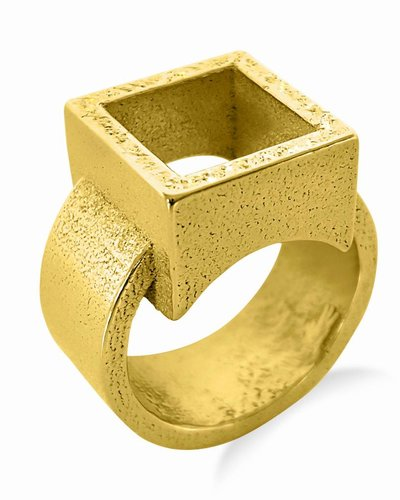Ola Ring met vierkant goud