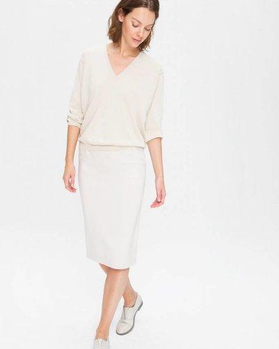 Zenggi Fine Cotton V-Neck Pullover Chalk