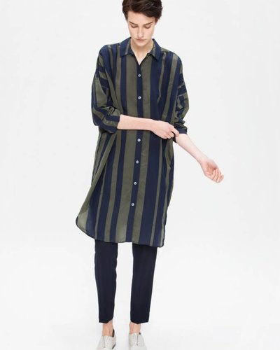 Zenggi Oversized Stripe Shirt Midnight Blue