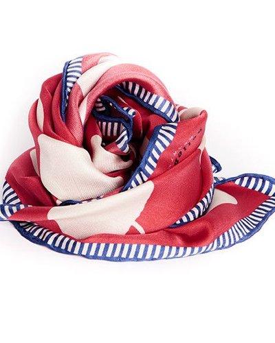 Hellen Van Berkel Vierkanten zijde sjaal met appels rood/wit
