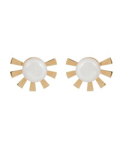 Wouters & Hendrix Wouters & Hendrix Stud Earrings with Sun and Pearl