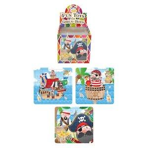 Huismerk Uitdeelcadeautjes - Puzzel: Piraten, 13 x 12 Cm in Traktatiebox (108 stuks)