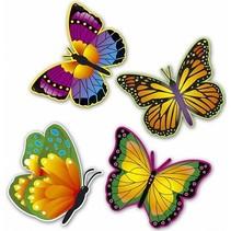 Hawaii Wanddecoratie Vlinders 32cm 4 stuks