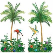 Palmbomen Muurdecoratie  hoogte 1 .65 meter 2 exemplaren