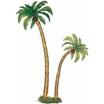Palmbomen muurdecoratie 2 delig set