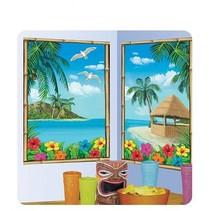 2 delige Muurdecoratie Van een strand met palmbomen
