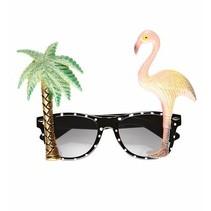 Tropische zonnebril palmboom&Flamingo