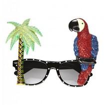 Tropische zonnebril palmboom&Papegaai