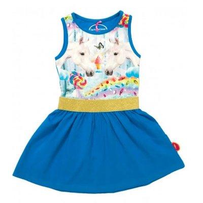 De kunstboer Leuk  mouwloos blauw jurkje met eenhoorns en een ijsje