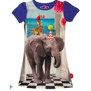 De kunstboer Blauw kleedje met olifant
