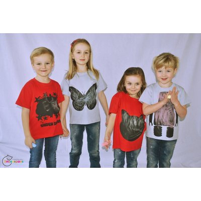 Little Mashers Rode T-shirt met superpower in krijtstof