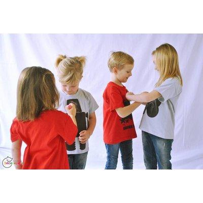 Little Mashers Gele T-shirt met een hartje in krijtstof