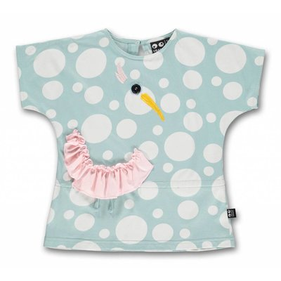 ubang Ubang- blauwe T-shirt met witte bolletjes en vogel
