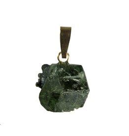 Alexandriet hanger ruw met 14k gouden oogje 1,3 x 1,4 cm
