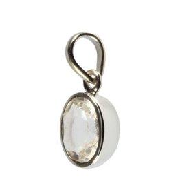 Zilveren hanger bergkristal kleine ovaal facet 10 x 8 mm