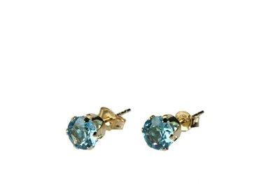 Gouden oorstekers (14k) met edelstenen
