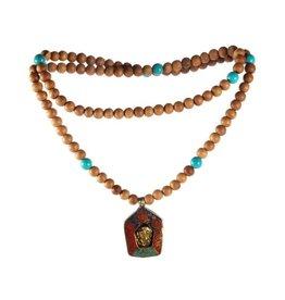 Sandelhout met turkoois mala met boeddha amulet
